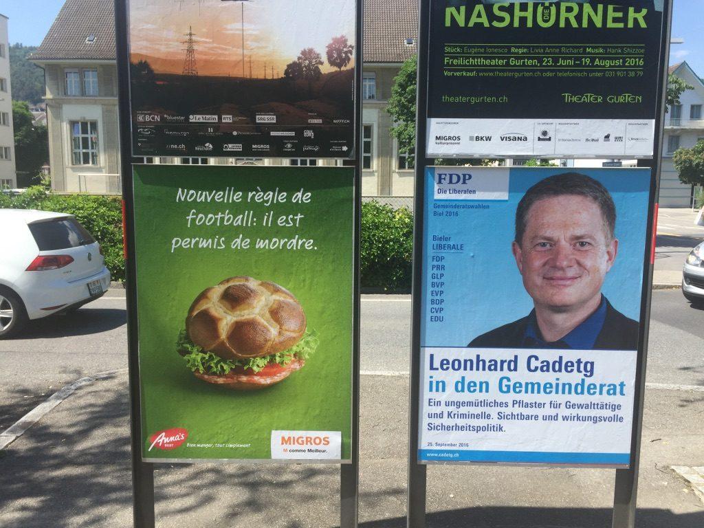 Publicité dans la ville bilingue Biel / Bienne